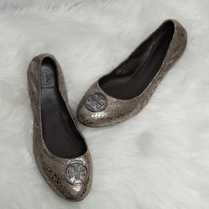 Ladies Tory Burch Reva metallic cobra  print flats